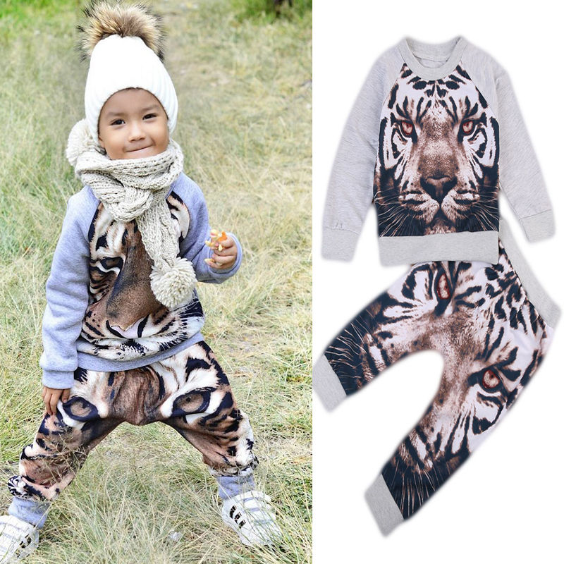 Pudcoco  2017 Autumn Toddler Kids Baby Boy 2PCS Outfits Clothing Tiger Print Long Sleeve Tops+Long pant Warm Clothes Set autumn 2017 newborn baby boy clothes long sleeve cotton t shirt tops giraffe print pant 2pcs outfit toddler kids clothing set