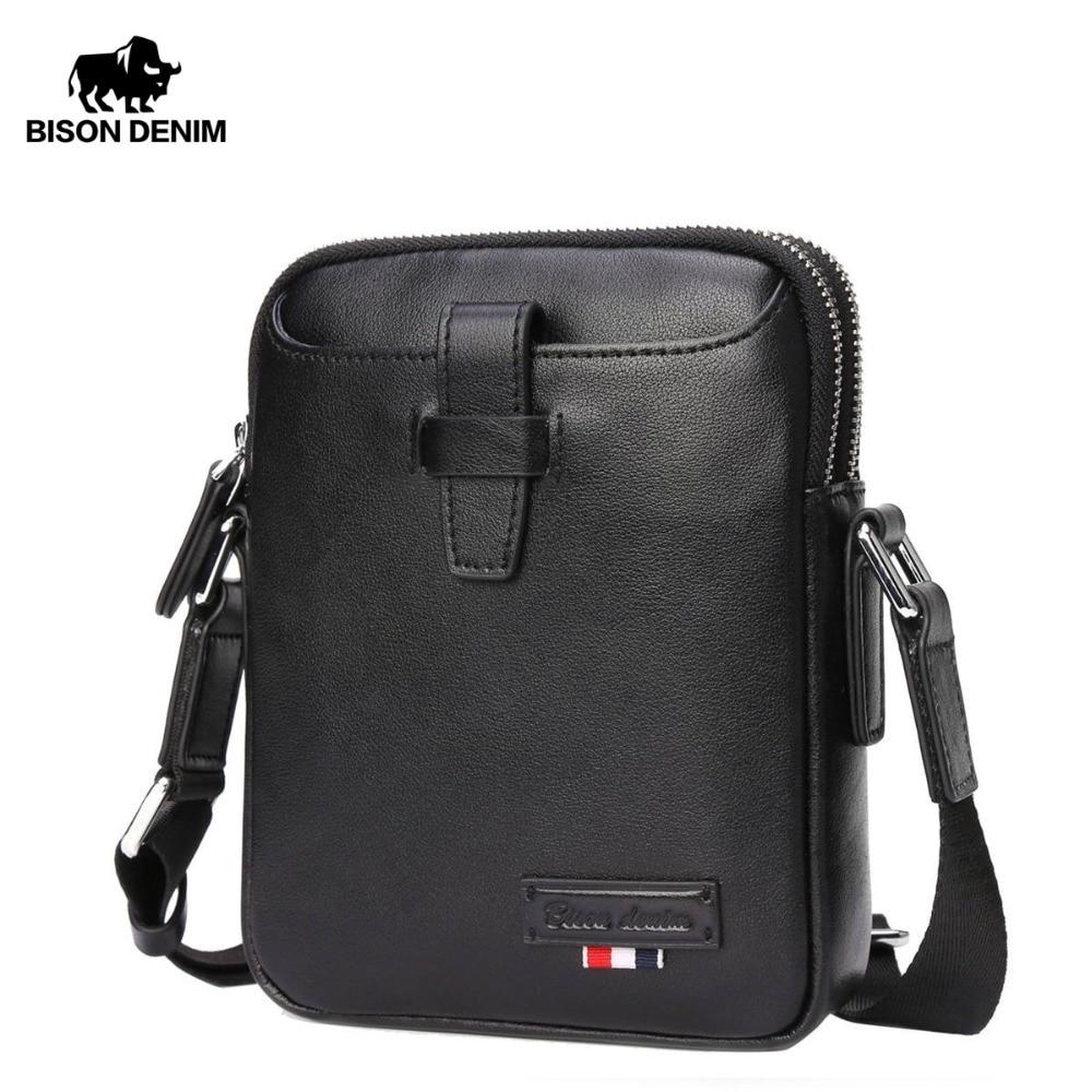 $36.66 | BISON DENIM NEW Genuine Leather Crossbody Bag Male Iphone Shoulder Bag Small Size Luxury bolsa Famous Brand Messenger Bag N2684