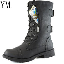 Women Boots Lace Up Shoes Woman 2018 Winter Autumn Genuine Leather Martin boots Lace Up Shoes Riding, Equestrian Boots Zip