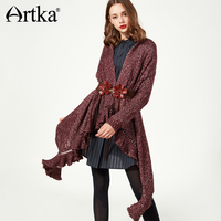 Artka 2017 Autumn Winter Mixed Color Irregular Ruffles Hem Vintage Knitted Cardigan Sweater