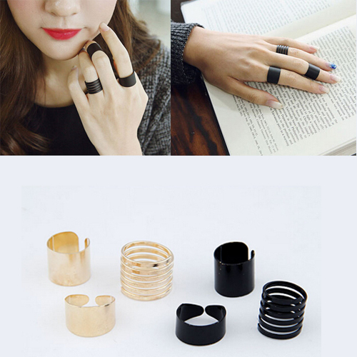 3 pcs Punk Fashion Rings for Women 2017 Girls Anillos Black/Gold Stack Plain Ban
