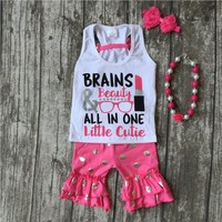 Summer Outfit Baby Girls Brains Beauty Clothes Lipstick Hot Pink Polka Dot Cotton Ruffles Kids Shorts