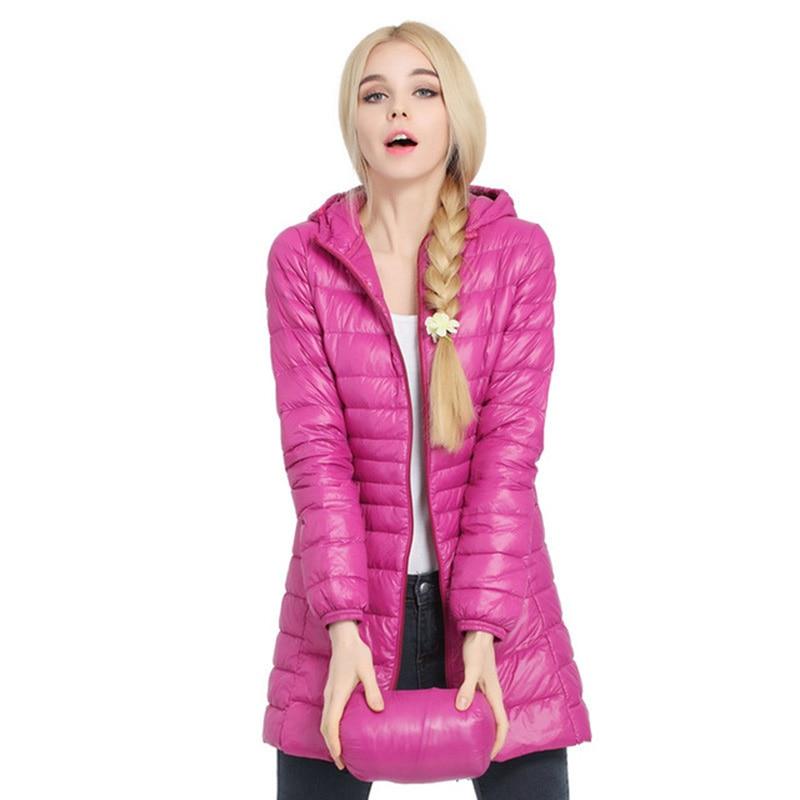 Plus Size 3XL women jacket Ultra Light   Down     Coats   2018 New Autumn Winter Jacket Women Duck   Down   Parka hooded Long Slim QH1247