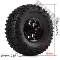 "INJORA 4Pcs 1.55"" Aluminum Wheel Tires 1.55 Inch Tyre for RC Crawler Car D90 TF2 Tamiya CC01 MST JIMNY Axial AX90069 3"