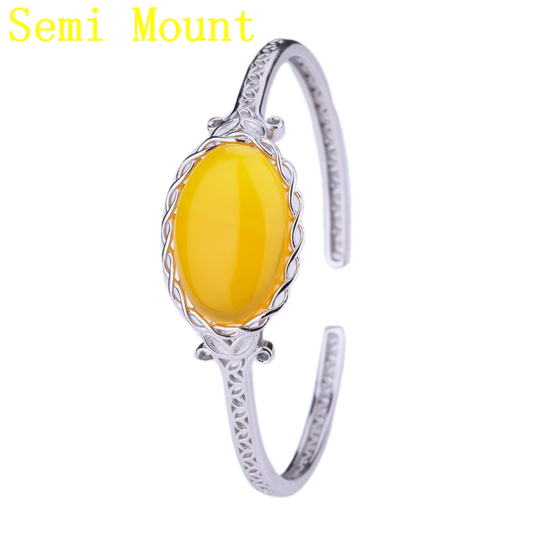 925 Sterling Silver Bracelet Semi Mount Bracelet White Gold Color Art Deco Classic For 15x21mm Oval Cabochon Amber Agate Setting
