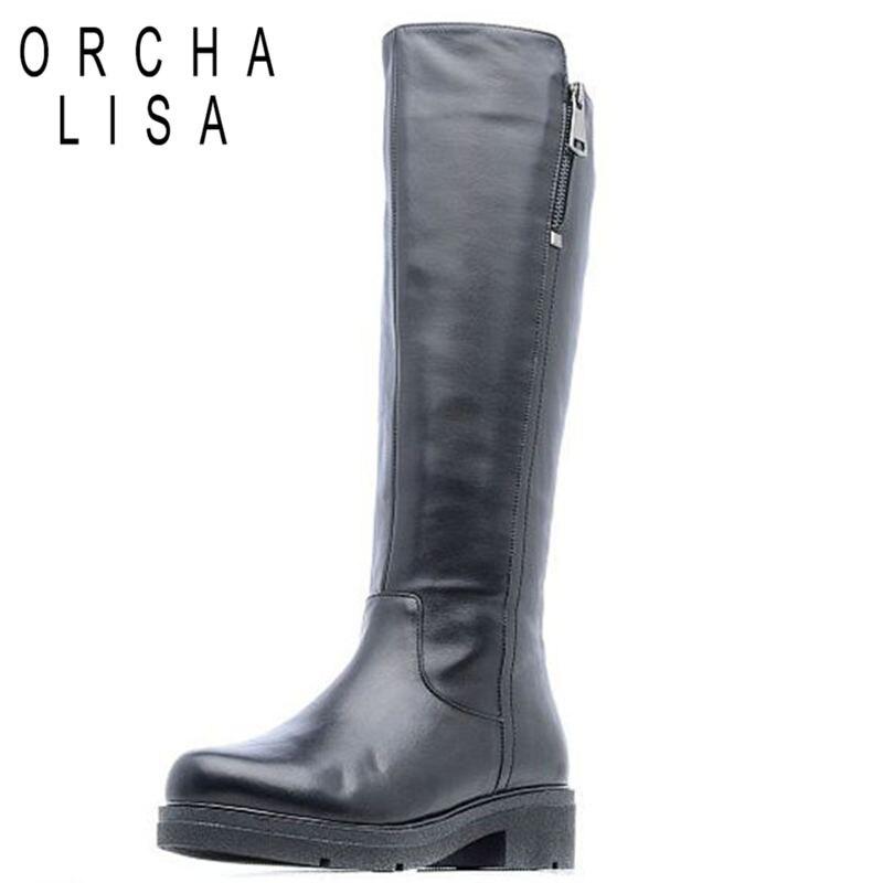 Orcha Superior Femininaj413 Black Cuero Botas Calidad Rodilla De Atmósfera Lisa Velvet Retro Genuino Invierno Zipper Toe HRrxHAS