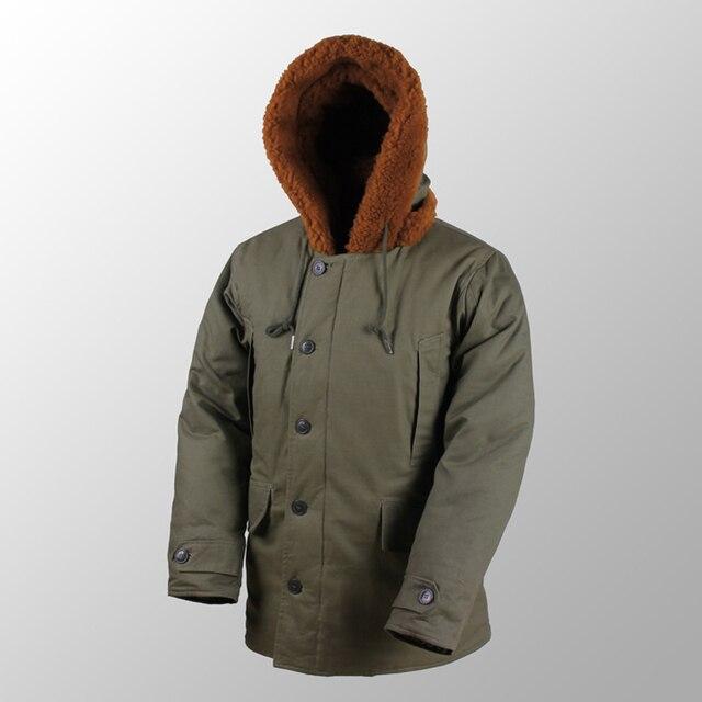"Repro צבא ארה""ב B 11 חורף Parka מדים ירוק Vtg Mens ארוך כותנה מעיל"