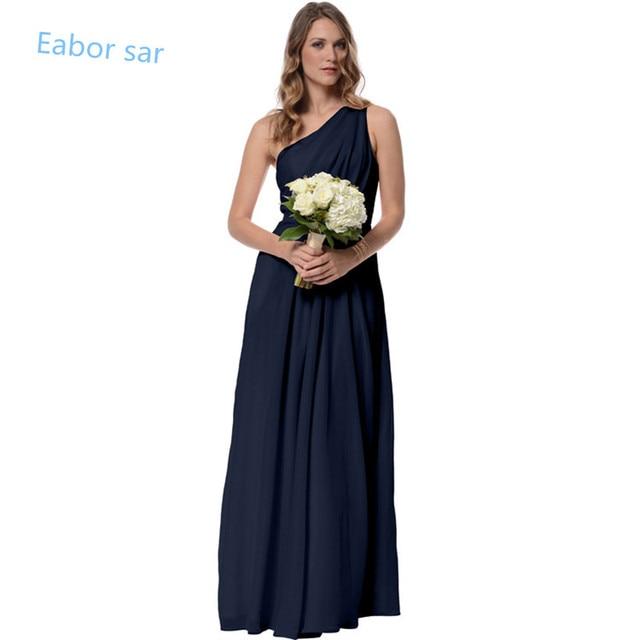 One Shoulder Navy Blue Bridesmaid Dresses Long Wedding Guest Dress Floor Length Maid of Honor Dress Chiffon Party Dress 2016