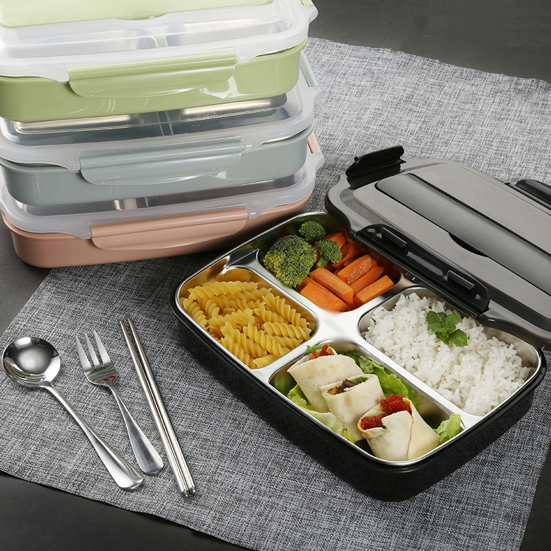 With Bag Tableware Set Leakproof Insulation Thermos Food Container 304 Stainless Steel Portable Lunch Bento Box Kid Student