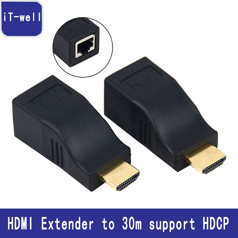 HDMI Extender Transmiter repeat 1080P HDMI UP to 30M Over CAT6 RJ45 Ethernet Cable Support HDCP for HDTV monitor Projector