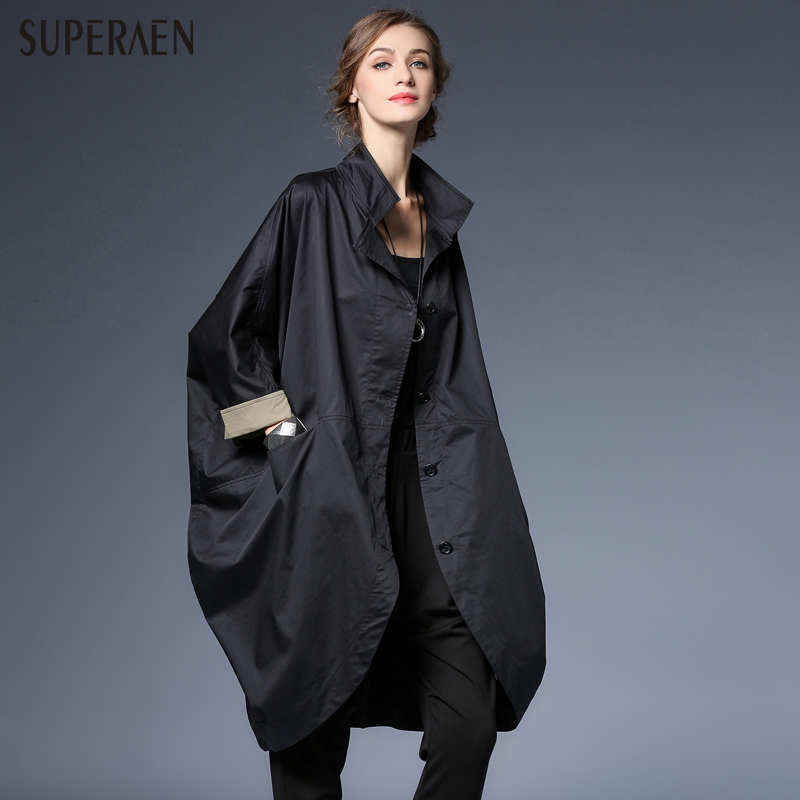 SuperAen 2018 Spring New Loose Women Fashion Windbreaker Cotton Casual Wild Europ Women's Clothing Pluz Size Wild   Trench   Coat