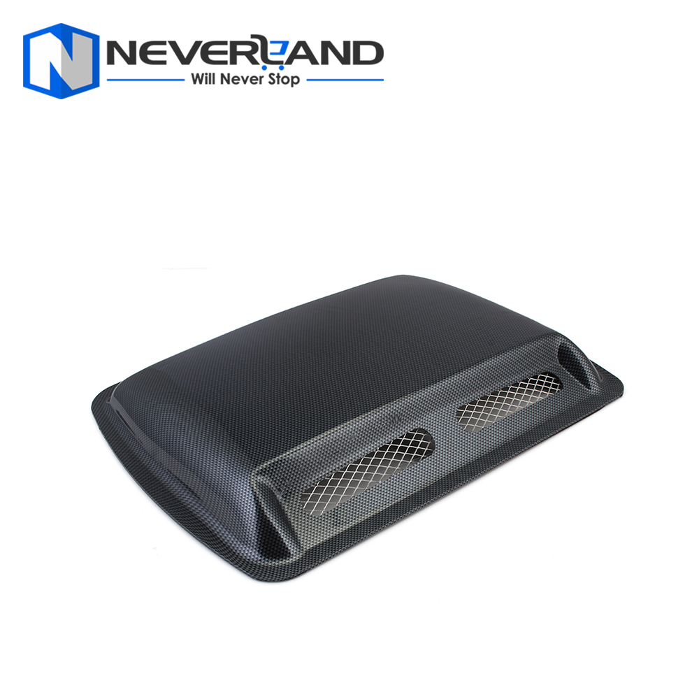 1 PCS Car Styling Stickers ABS Car Decorative Air Flow Intake Scoop Turbo Bonnet Vent Cover Hood Black Carbon Fiber Silver White