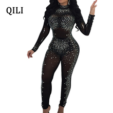 QILI Women Diamonds Rhinestone Jumpsuits Sexy See Through Mesh Skinny Long Pants Bodycon Jumpsuit Black Khaki Club jumpsuit