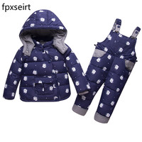 Windproof Waterproof Winter Suits for Kids Baby Boys Girl Hoodies Down Coat+Overall Children Snowsuit Thick Warm Outwear Clothes