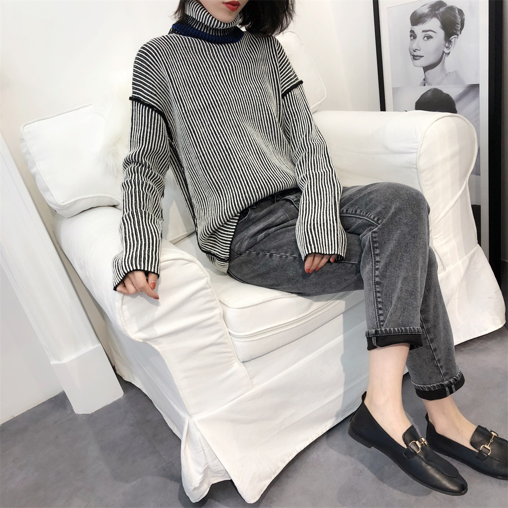 2019 New Autumn Winter High Necked Striped Sweater Long Sleeved Blouse Casual Commuter Sweaters Fashion Women Black Sweater