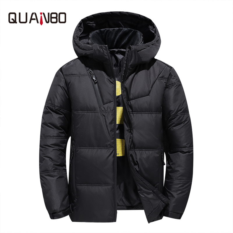 QUANBO Brand Mens   Down   Jacket 2019 New Male Youth Short Fashion Hooded Winter Jacket Thicken Warm Casual   Down     Coat   Red Black