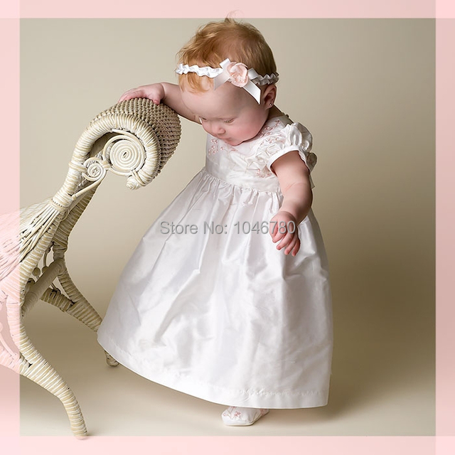 3d3245c7 New Lovely High Quality short sleeve Baptism Gown white ivory lace Christening  Gowns Dress with Bonnet
