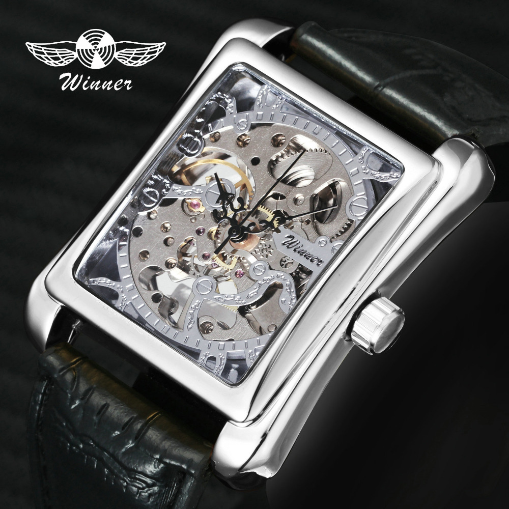 Fashion Unisex Women Watches WINNER Top Brand Luxury Skeleton Mechanical Tonneau Dial Silver Steel Case Leather Ladies Watches