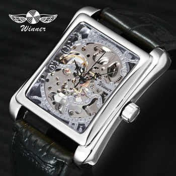 Fashion Unisex Women Watches WINNER Top Brand Luxury Skeleton Mechanical Tonneau Dial Silver Steel Case Leather Ladies Watches - DISCOUNT ITEM  44% OFF All Category