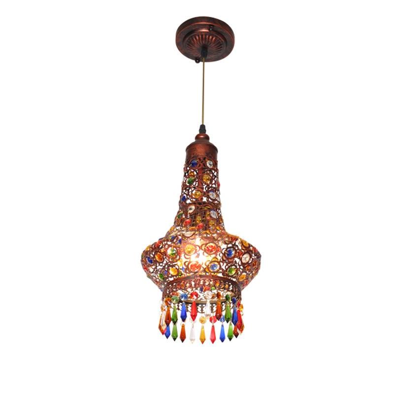 European Denmark Retro Vintage Metal Lampshade Crystal Brass LED Hang Pendant Lamp Light E27 Fixtures Counter Bar Table Lighting