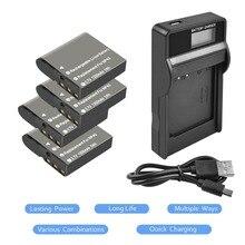 4 упаковки 3,7 В 1350 мАч литий-ионный NP-40 Батарея + 1 Порты и разъёмы Батарея светодио дный зарядное устройство для Casio Exilim ex-fc100 ex-fc100we ex-fc150 EX-FC150B L10
