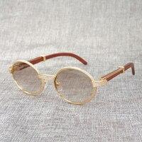 Buffalo Horn Diamond Sunglasses Wooden Eyeglasses Retro Shades Men Stone Sun Glasses Round Metal Rhinestone Glasses Frame Gafas