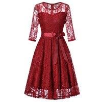 New Arrivals 2018 Spring Summer LLace Dress Women Vintage Dress 50s 60s 3 4 Long Sleeve
