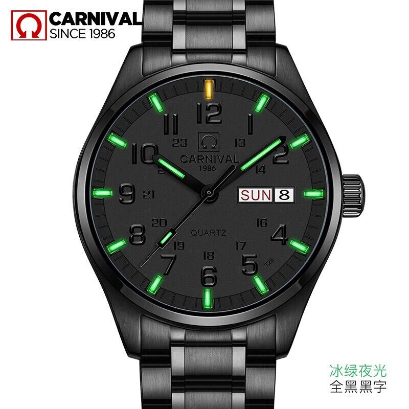 Carnival Luxury Brand Watch Men Quartz Men Watches Tritium Light Luminous Watch Male Waterproof Military reloj hombre C8638-9