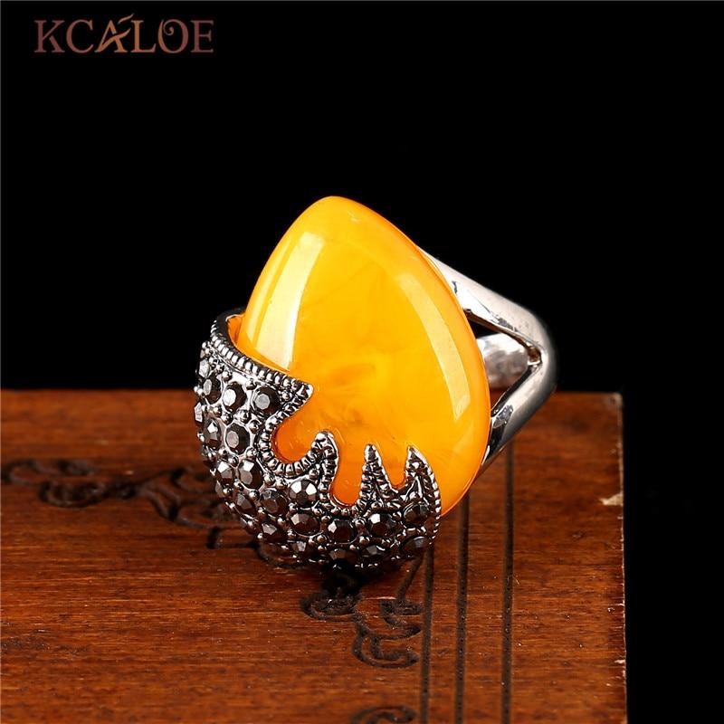 product Brand Fashion Meus Pedidos Jewelry Big Yellow Semi-Precious Stone Rings For Men and Women
