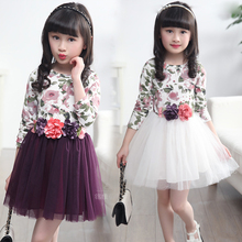Kids Dresses For Girls Floral Print Girl Dresses 4 5 6 7 8 9 10 11 12 13 14 Years Summer Princess Dresses 2017 Children Clothing