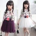 Niños Vestidos Para Niñas de Flores de Impresión Vestidos de Niña 4 5 6 7 8 9 10 11 12 13 14 Años Vestidos de Princesa de Verano 2017 Ropa de Los Niños
