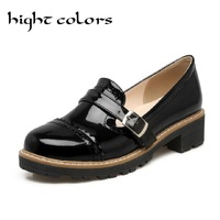 Vintage Carved Oxford Shoes Women Fashion Brogue Style Nude Colors Cut Outs Round Toe Slip On Patent Leather Flat Shoes Women 42