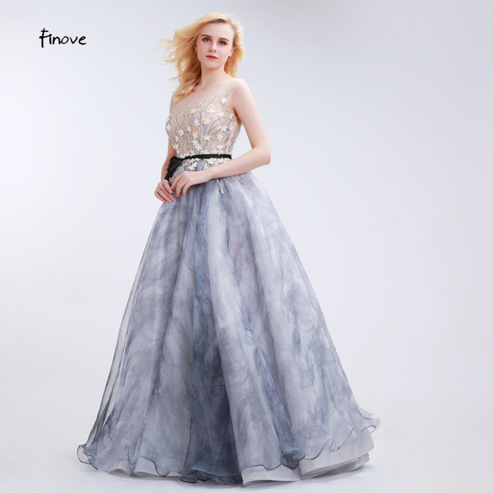Finove Vintage Evening Dresses Long 2019 Hot A Line with Sleeves Appliques Flower Illusion Gray Celebrity