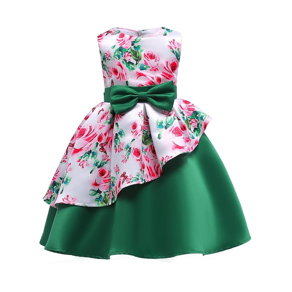 Girl Party Dress Green 2018 Summer Irregular Floral Long Bow Kids Teen Tunic Princess Evening Christmas