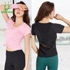 @1  Vansydical женская сетка тренажерный зал рубашки йоги с коротким рукавом Quick Dry Фитнес Бег Тренир ①