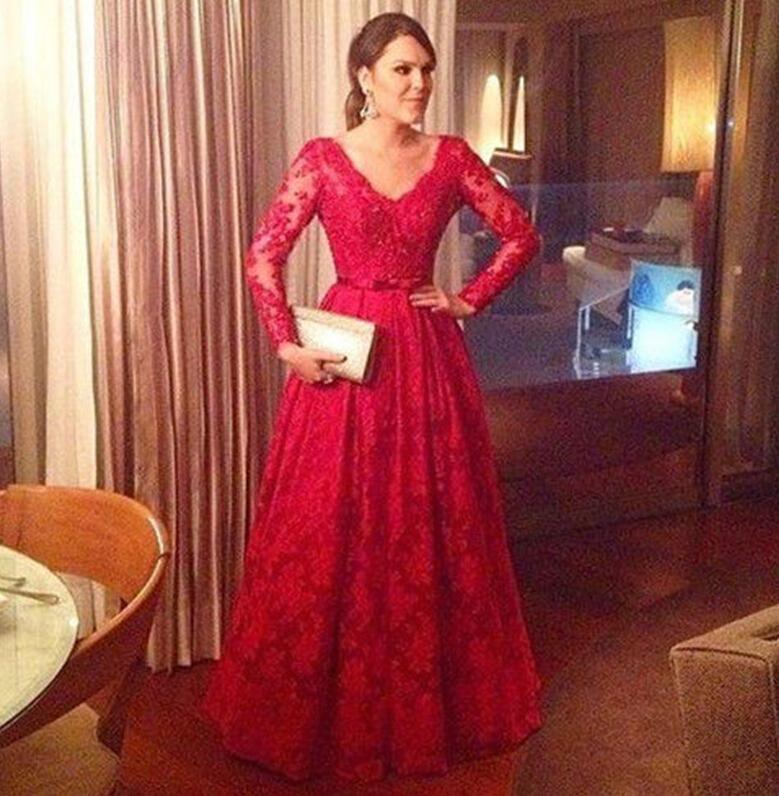 Red Lace Mother Of The Bride Dresses V Neck Long Sleeves A Line Floor Length Evening 2017 Plus Size Formal Gowns In