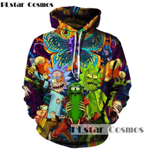 PLstar Cosmos 2017 Fashion Hip hop 3d font b Hoodies b font Hot cartoon rick and