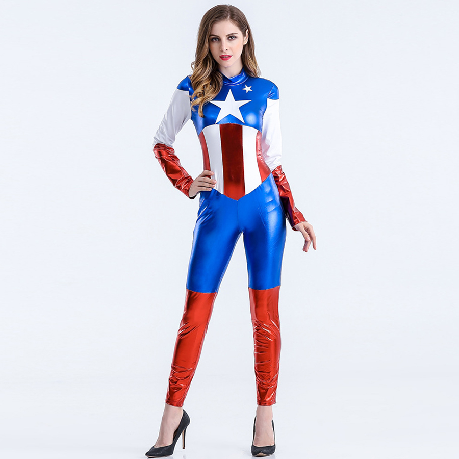 Super Hero Costume  America Movie Costume Zentai Jumpsuits Halloween Women Costumes Movie Avengers Lego Captain America Costume