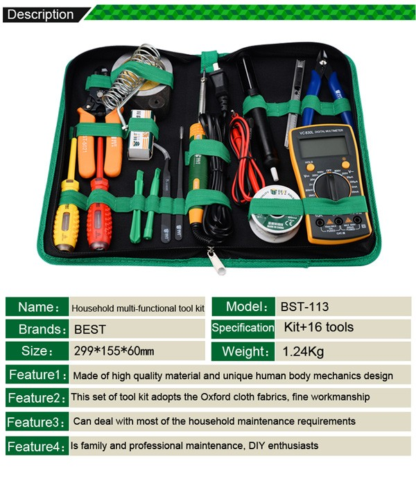 Buy 16 in 1 Household Profession Multi-purpose Repair Tool Set With Soldering Iron Digital Mulimeter For Laptop PC Tablet