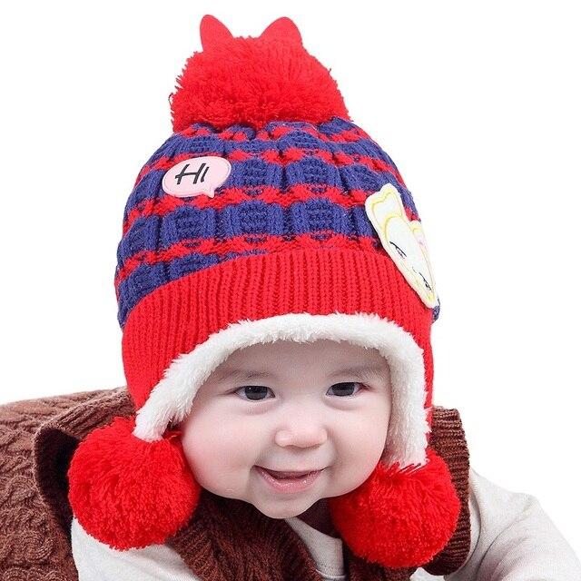 Bunny plus cashmere children hat autumn and winter new baby hat ball baby  hat baby ear cap beige 42185e14edd