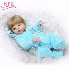 NPK 22Inch White Skin Baby Doll Realistic Full Silicone Vinyl Alive Doll Reborn Baby Doll For Children Gifts Kid Best Playmate(China)