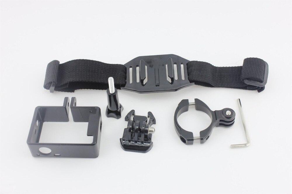 F05740-F Sports Cycling Video Shooting Set: Aluminum Bike Handlebar + Protective Frame + Helmet Strap for Gopro Hero3 3plus 3 FS