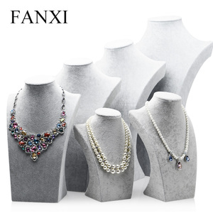 FANXI Silver Gray Ice Velvet Necklace Bust Mannequin Model Pendant Display Stand Shelf with MDF Jewelry Organizer Showcase