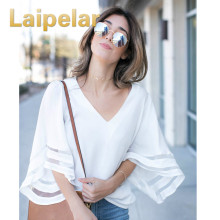 Laipelar 2018 New Fashion Summer Women Cute Chiffon Blouses Casual Flare Sleeve Shirts White Loose Tops