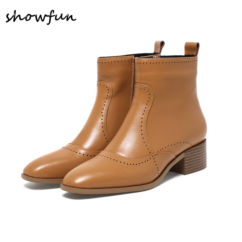 Women's genuine leather low heel comfortable autumn ankle boots brand designer square toe winter Motorcycle short booties shoes