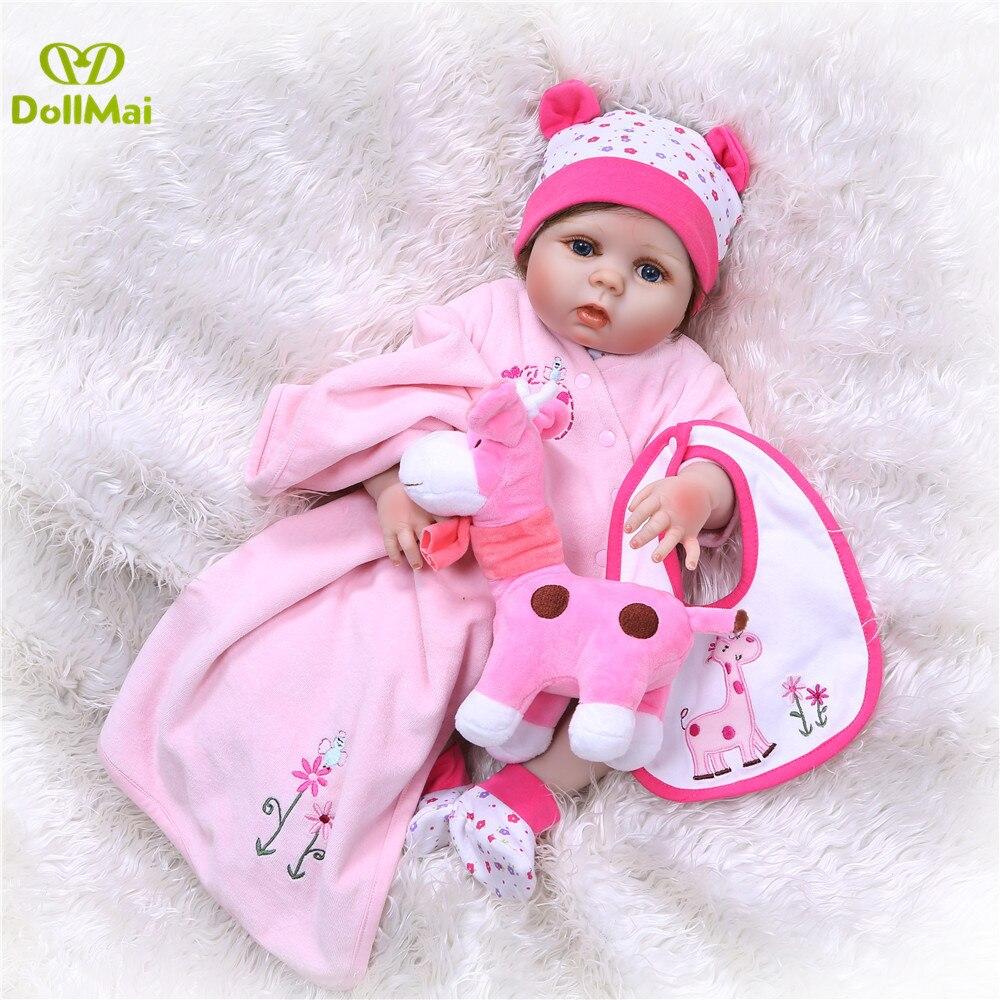 DollMai 23inch Lifelike reborn dolls babies Full silicone fashion rose pink menina Toys For Girls bebe gift reborn bonecas toy - 4