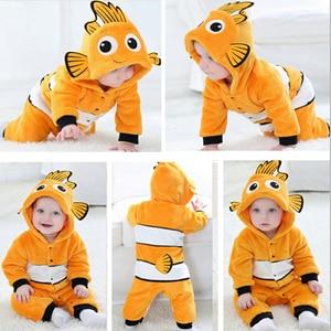 2019 Baby Rompers Fish Baby Boy Girl Jumpsuits Animals Newborn costumes Warm Winter Coral Fleece pijamas de bebe recien nacido(China)