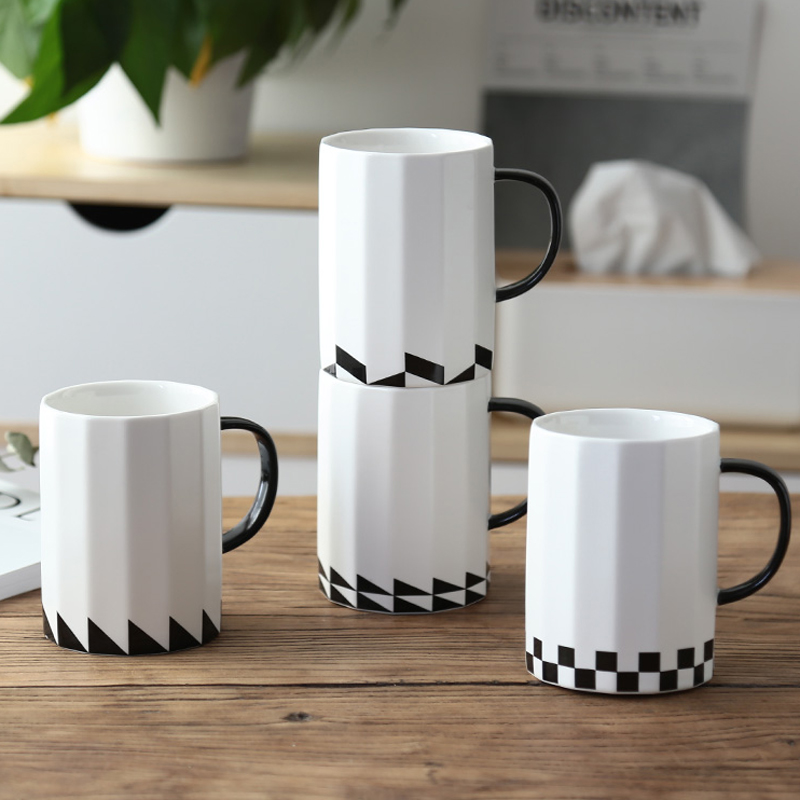 fbe25e38a97 US $14.43 22% OFF|Large Ceramic Coffee Mug 16OZ Big Black White Porcelain  Cup Tea Coffee Office Cafe Mugs & Cups Ceramic Gift Mugs Drinkware-in Mugs  ...