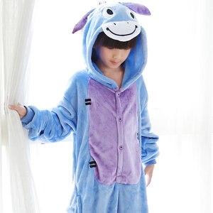 Image 4 - Kids Kigurumi Children pajamas Winter Flannel Animal pajamas one piece Rabbit Totoro Stitch Panda Cosplay baby Boy girl pyjamas