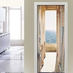 Criativo 3d porta adesivo diy decoração da sua casa decalques auto adesivo mar paisagem papel de parede mural à prova dwaterproof água para quarto renovação da porta